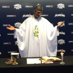 Fr. Frank Permuy celebrates Mass for the Miami Marlins and Tampa Bay Rays on April 11, 2014