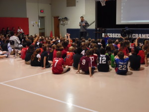 Washington Nationals pitcher Craig Stammen speaks about his Catholic faith to students from Blessed Sacrament Elementary School in Alexandria, Va.