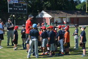 Washington Nationals pitcher Craig Stammen teaches pitching skills to a group of younger campers