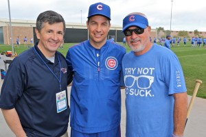 CAC President Ray McKenna (l) and Cubs priest chaplain Rev. Burke Masters (c) meet with Cubs manager Joe Maddon at the Cubs spring training facility in Mesa, Az.